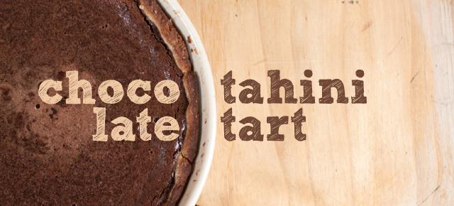 chocolate tahini tart-5