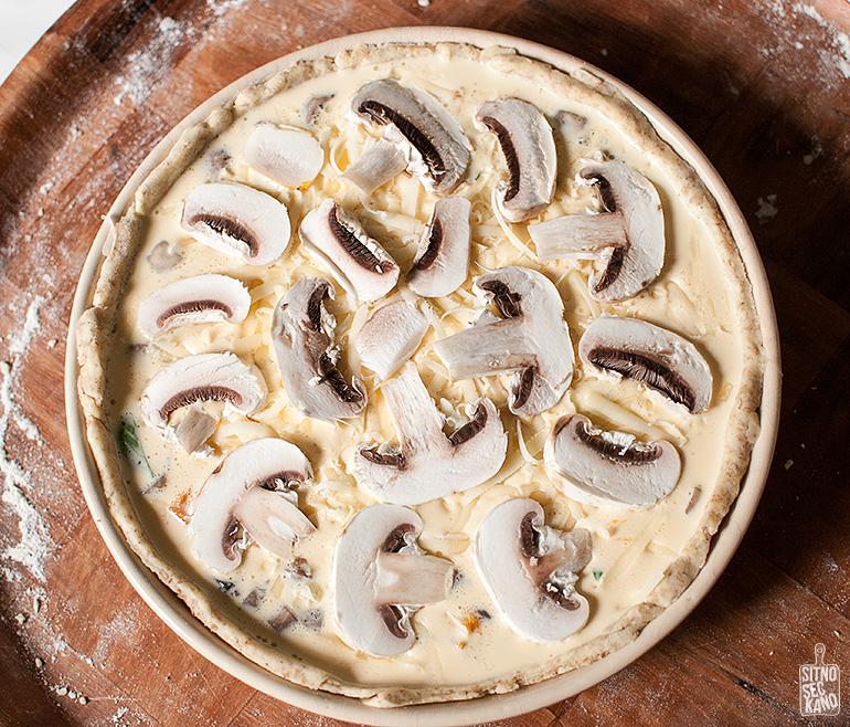 pumpkin mushroom quiche / sitno seckano