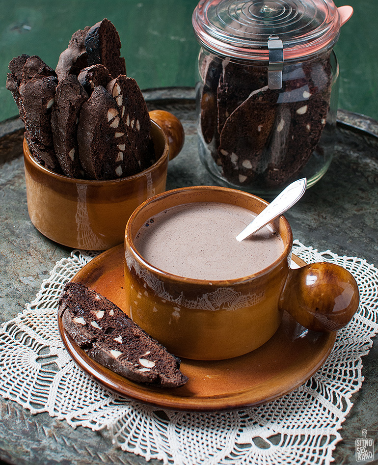 chocolate almond biscotti with hot cocoa