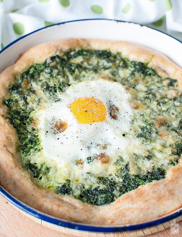 Spinach egg pizza | Sitno seckano
