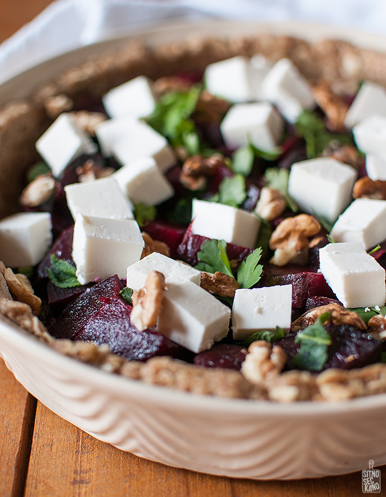 Roasted beets manouri cheese quiche | Sitno seckano