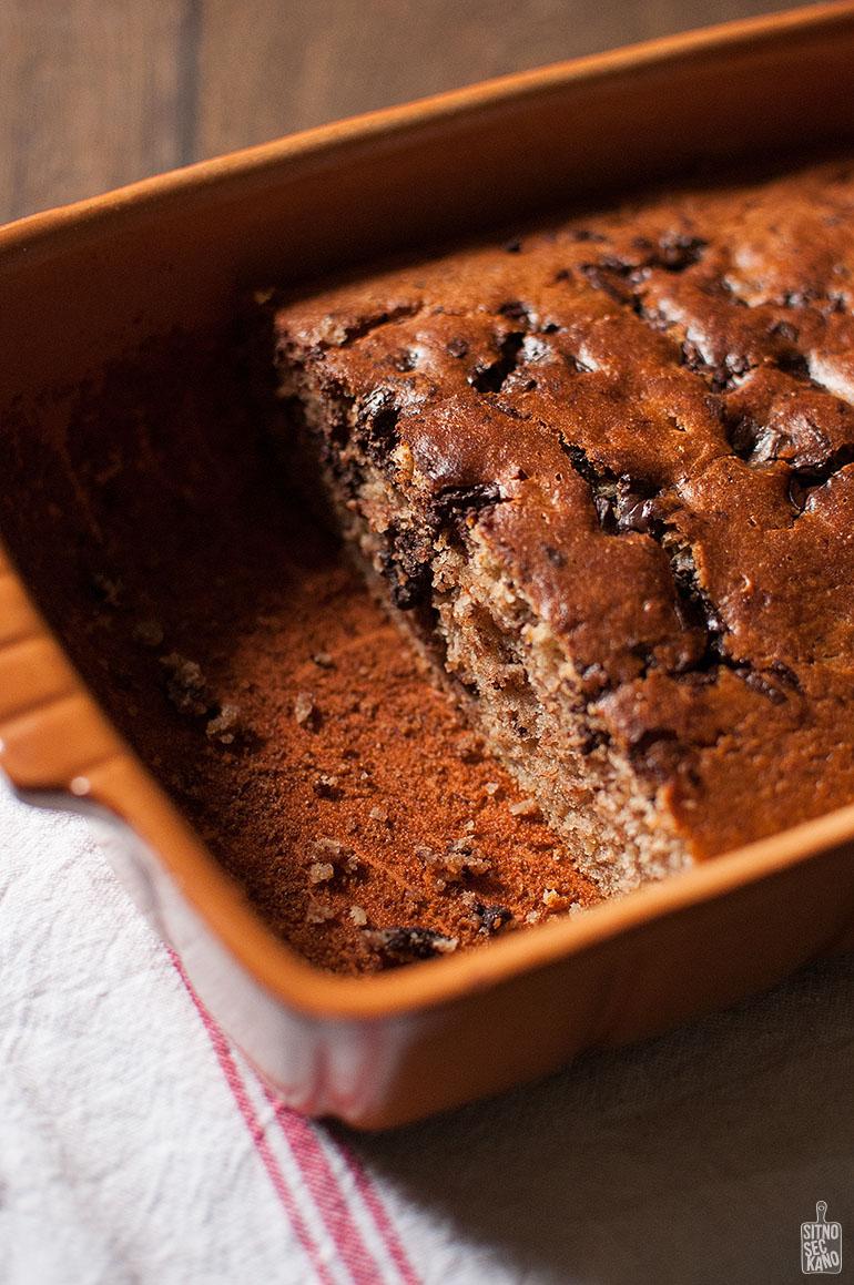 Whole wheat chocolate chunk banana cake | Sitno seckano