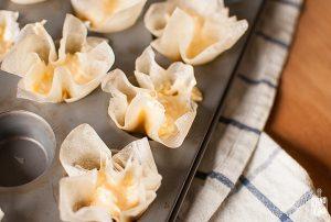 Mini filo dough cups with cheese   Sitno seckano